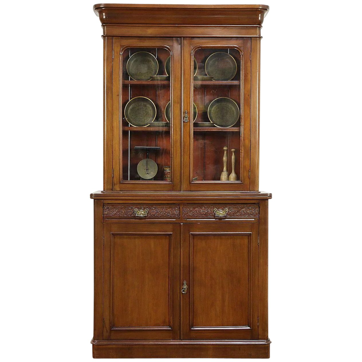 Victorian English Antique Mahogany Bookcase Cabinet Wavy Glass Doors 30488