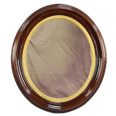 """Victorian Antique 1860 Oval Mirror, Carved Walnut Frame 39"""" Tall #30492"""