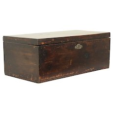 New England Child Size Antique 1830 Trunk or Sewing Box, Wallpaper Lining #30495