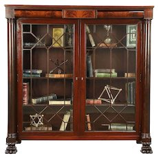 Empire Mahogany Antique Bookcase, Secret Drawers, Columns, Lion Feet #30497