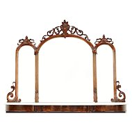 Victorian English Antique Salvage Triple Mantel Mirror, Carved Mahogany #30498