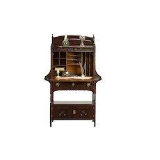 Victorian Eastlake Antique 1880 Carved Walnut & Burl Secretary Desk #30502