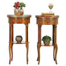 Pair of Antique Italian Tulipwood Marquetry Nightstands or End Tables #30511