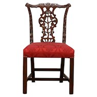 Georgian Chippendale Vintage Desk or Dining Chair, New Upholstery #30517