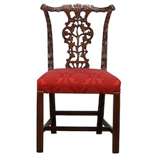 Furniture A Set Of 4 Antique Carved & Upholstered Dining Chairs With Ornate Tops Antiques