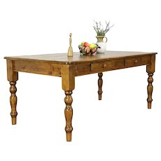 Country Pine 6' Farmhouse Harvest Dining Table or LIbrary Desk, Drawers #30529