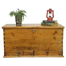 Country Pine Antique Trunk, Blanket Chest or Coffee Table #30530