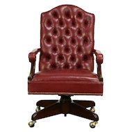 Harden Cherry Traditional Swivel Adjustable Desk Chair, Faux Leather #30536