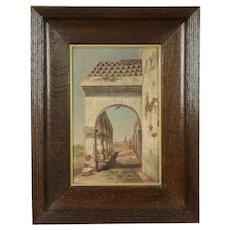 Ancient Arcade, Antique Original Oil Painting on Canvas, Ellen B. Farr #30541