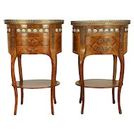Pair of Italian Vintage Oval Tulipwood Marquetry Nightstands, End Tables #30553