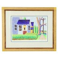 Houses Serigraph by Bruce Bodden, Wisconsin Artist, Custom Frame #30564