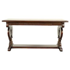 Walnut Carved Antique Hall Console or Sofa Table, Drawer #30568