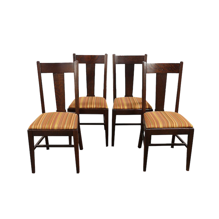 Groovy Set 4 Arts Crafts Mission Oak Antique Craftsman Dining Chairs Striped 30569 Ncnpc Chair Design For Home Ncnpcorg