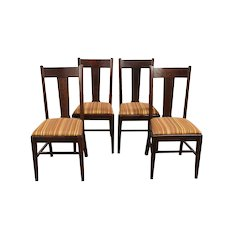 Set 4 Arts & Crafts Mission Oak Antique Craftsman Dining Chairs Striped  #30569