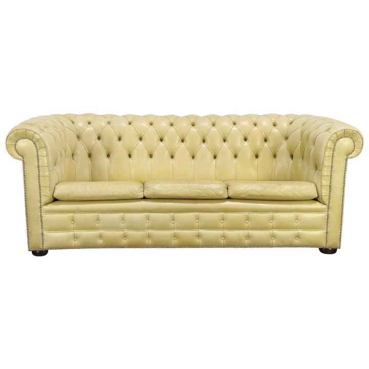 Chesterfield Vintage Tufted Leather 3 Cushion Scandinavian Sofa 30570