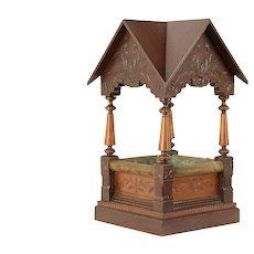 Miniature Antique Architectural Model Well Cover or Portico, Signed 1893 #30572