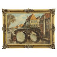 A Bridge in Bruges, Belgium, Vintage Original Painting #30574