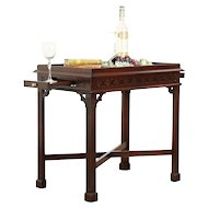 Georgian Style Vintage Mahogany Tea Table, Pull Out Shelves #30578