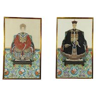 Chinese Qing Dynasty Emperor & Empress, Pair of Antique Portraits #30580