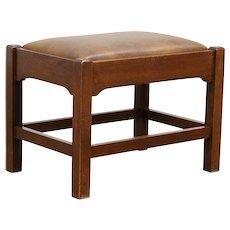 Arts & Crafts Mission Oak Antique Leather Craftsman Stool or Bench #30604