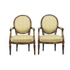 French Louis XVI Antique Pair Carved Fruitwood Armchairs #30630