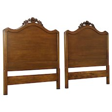 Pair of Vintage Fruitwood Twin or Single Bed Headboards, Carved Roses #30635
