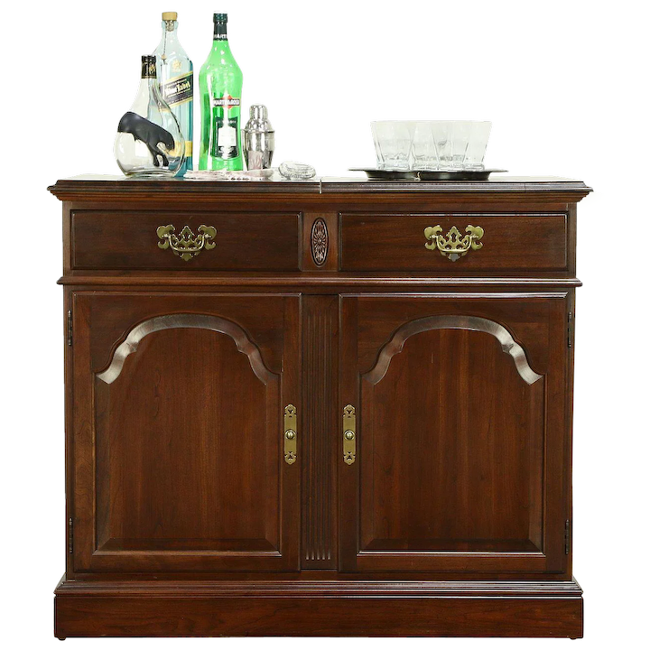 Traditional Cherry Bar Cabinet Or Server, Flip Open Top, Ethan Allen : Harp  Gallery Antique Furniture | Ruby Lane