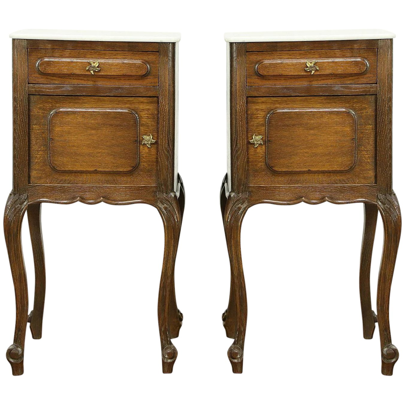 Pair Country French Antique Oak Nightstands Or End Tables Marble Tops 30643