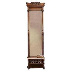 Victorian Antique Carved Walnut Pier Or Hall Mirror, Marble Shelf #30647