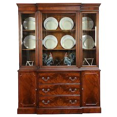 Mahogany Traditional Breakfront China Cabinet or Library Bookcase, White  #30666