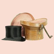 Victorian Silk Antique English Man's Top Hat & Leather Case, Signed Bath #30672