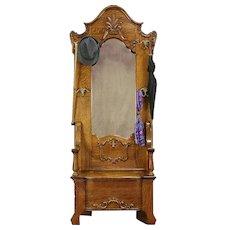 Victorian Antique Quarter Sawn Oak Hall Bench & Stand, Mirror #30678