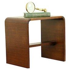 Midcentury Modern Vintage Walnut Vanity Bench, Low Table or Nightstand #30705