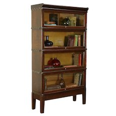 Oak Antique 4 Stack Lawyer Bookcase, Signed Globe Wernicke, Wavy Glass #30709