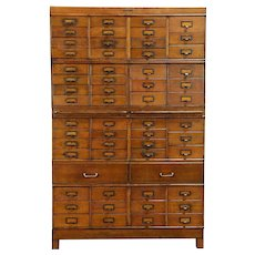 Oak Antique 58 Drawer Stacking File Cabinet, Wetzel Chicago #30716