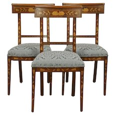 Dutch Antique Inlaid Marquetry Set of 3 Dining or Side Chairs #30725