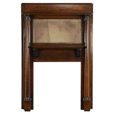 Oak Antique Fireplace Mantel, Architectural Salvage, Beveled Mirror #30734