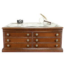 Victorian Antique Oak Spool Cabinet Jewelry or Collector Chest #30748
