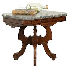 Victorian Antique 1880 Walnut Coffee Table, Gray Fossil Marble #30789