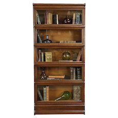 """Oak Antique 5 Stack Lawyer Bookcase, Signed Globe, Wavy Glass, 70"""" Tall #30792"""