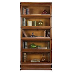 "Oak Antique 5 Stack Lawyer Bookcase, Globe, Wavy Glass, 74"" Tall #30793"