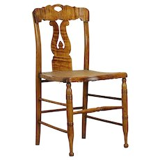 New England Curly Maple Antique 1825 Lyre Back Side or Desk Chair #30800