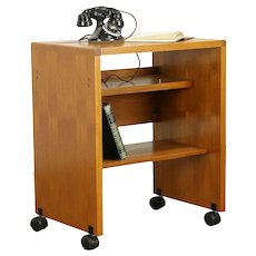 Midcentury Modern Teak Scandinavian Vintage Rolling Cart, Printer Stand #30808