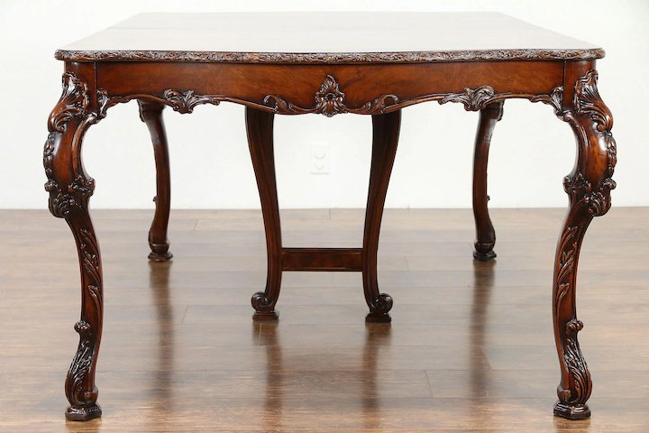 Antique Dining Chairs >> Carved Vintage Dining Set Table 6 Chairs New Upholstery Romweber