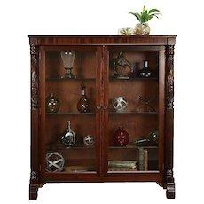 Empire Antique Mahogany Bookcase or Curio Display Cabinet #30825