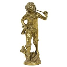 Wine Grape Harvest Sculpture, Vintage Cast Brass Statue of a Young Man #30831