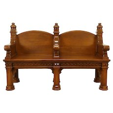 Oak Carved Antique 1890 Double Hall Bench #30835