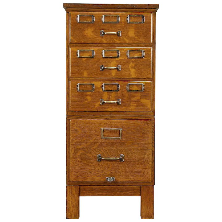Oak Antique Stacking 4 Drawer Office Or
