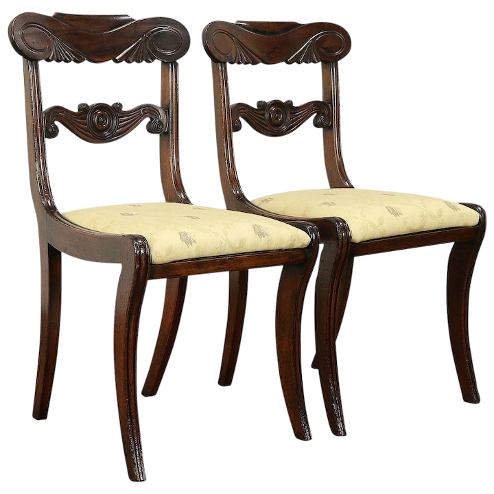 Pair Of Clical Greek Revival Antique 1810 Mahogany Side Chairs 30859