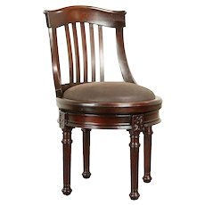 Swivel Antique Mahogany Desk Chair, Leather Seat, Signed Hale NY #30865